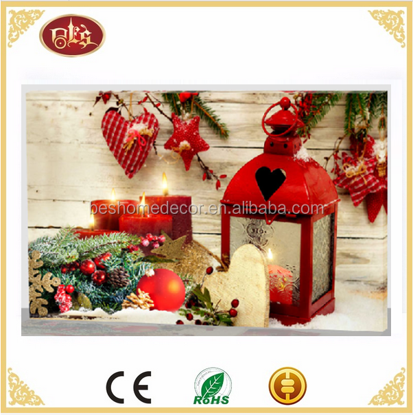 Christmas lantern pictures with lights LED canvas pictures lantern flickering lights