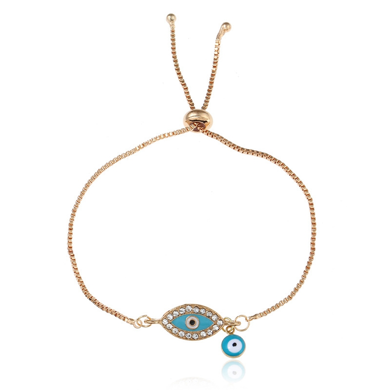 Simple Crystal Design Gold Plated Alloy Adjustable Bracelets Jewelry Fashion Blue Enamel Evil Eye Bracelet For Women