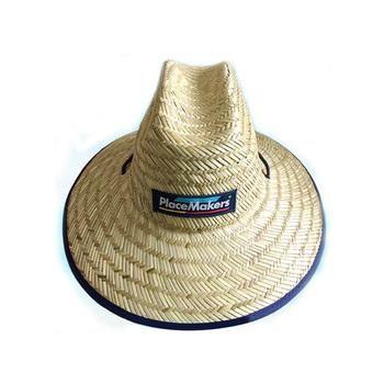 Remendo feito sob encomenda logotipo camponês chapéu de palha de papel  tecido chapéu de palha chapéu 23d8f81cd10