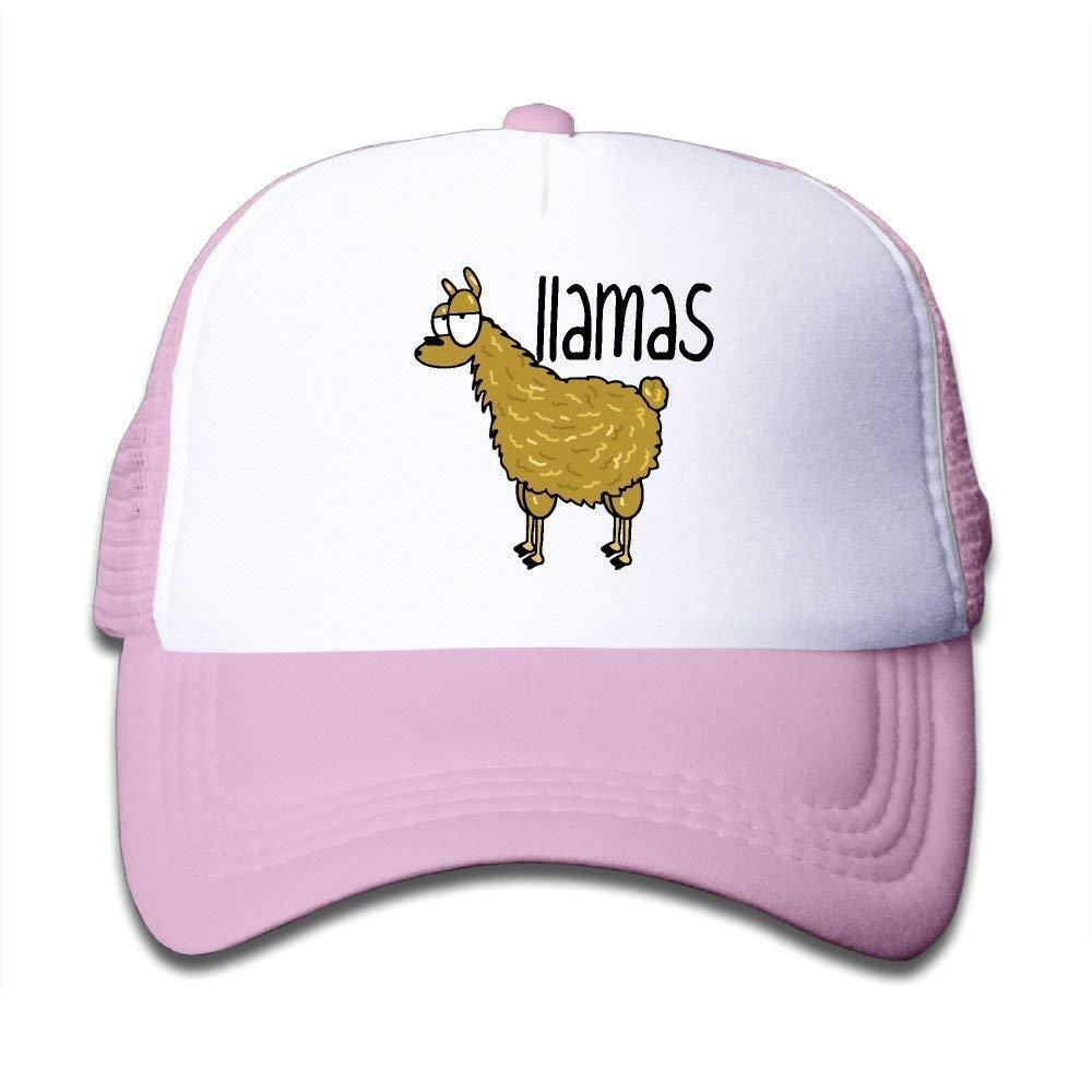 7d7873c340b56 Get Quotations · DIYoDGG Kids Cartoon Llamas Trucker Mesh Baseball Cap Hat  Trucker Hats Pink