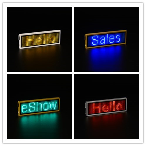 USB Rechargeable Programmable 11*44 pixels LED Name Badge LED Name Tag Scrolling LED Signs