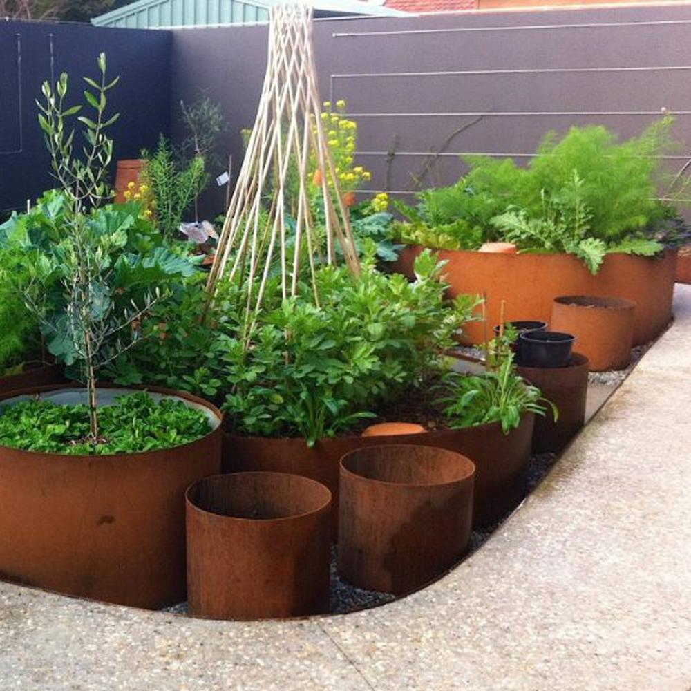 Large Vertical Planter Corten Steel Flower Pot Corten Steel Garden