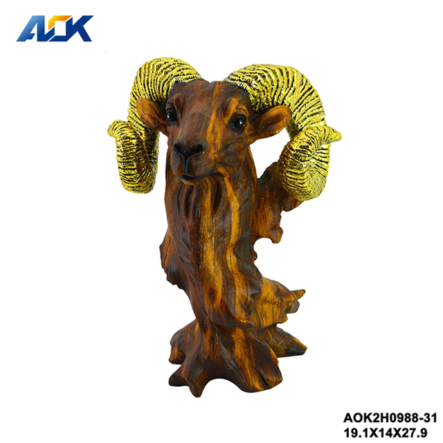 Wholesale Home Decorative Animal Gold Horn Goat Head
