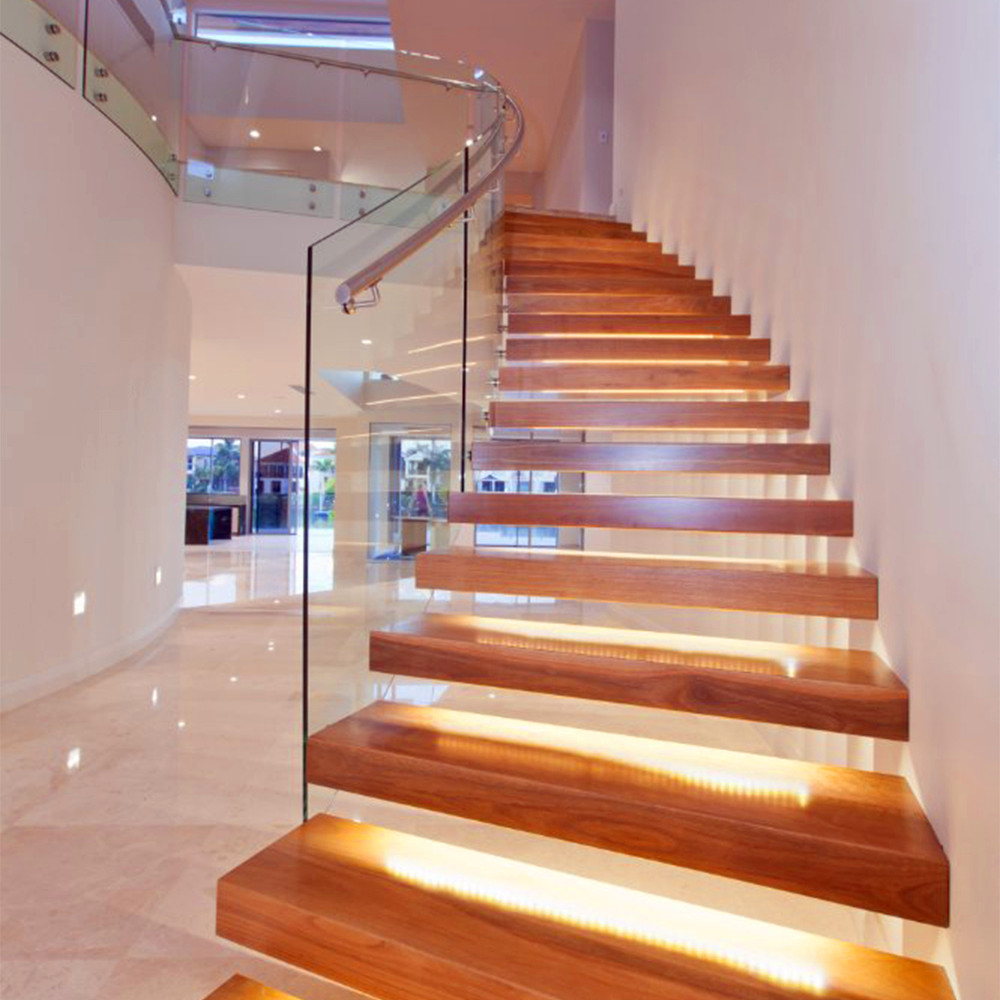 Incroyable Straight Mild Steel Glass Modern Floating Staircase / Prefab Steel Glass  Stair Indoor   Buy Floating Staircase,Modern Floating Staircase,Straight  Staircase ...