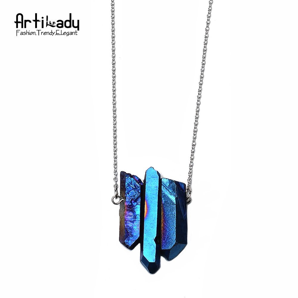 Artilady online shop chinese supplier 3pcs crystal pendant necklaces silver chain quartz stone women necklace