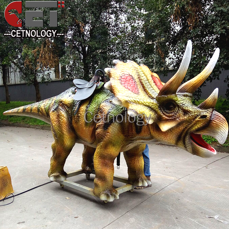 Cetnology chinese manufacturer amusement robotic rides Coin Operated Animatronic dinosaur rocking dinosaur ride on car
