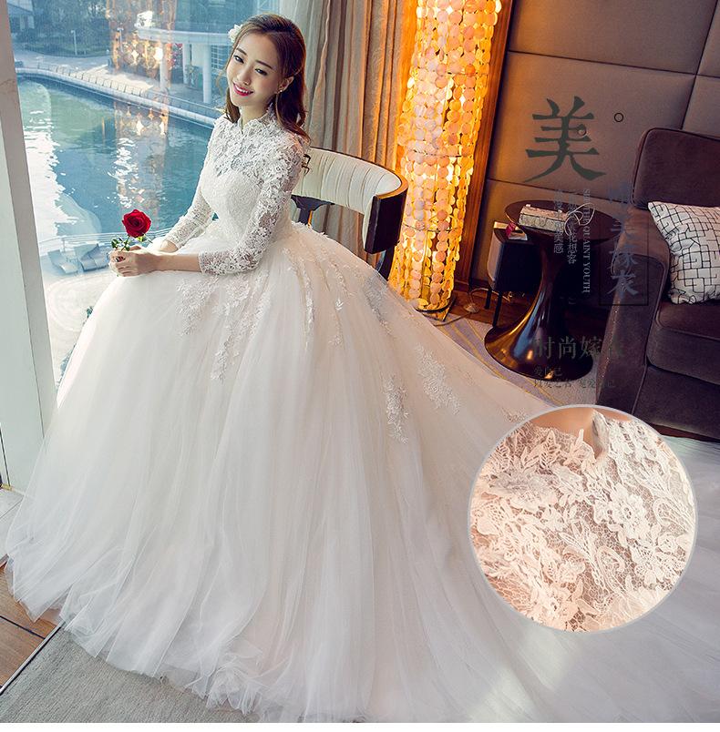 Wts64 New 2018 Korean Style Wedding Dresses Lace Up Vestido