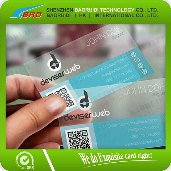 plastic clear business visiting card with QR code
