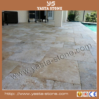 Natural beige travertine pavers for antique project