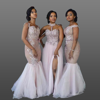 2018 South African Bridesmaid Dresses Long Lique Lace Mermaid Prom Gowns Mixed Style Maid Of Honor