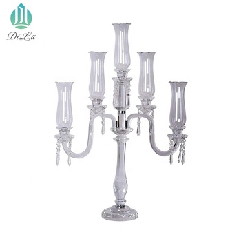 Wholesale 90cm Height candle holder Flower stand with Glass Hurricane 5 arms crystal wedding table centrepiece candelabra