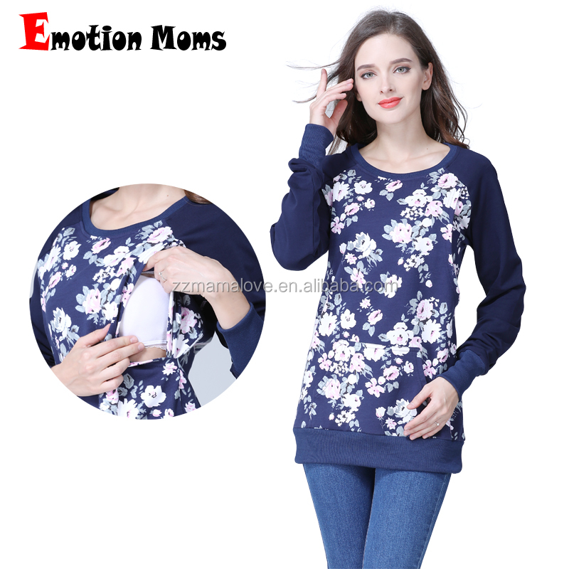 Emotion Moms Plus Size Autumn Winter US Size Breastfeeding clothes Nursing Tops Maternity Jumpers фото