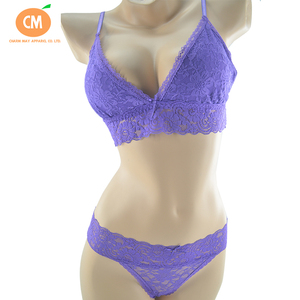 CM-L-MC-008 New Design Violet Sexy Cotton Full Lace Bra And Underwear Set
