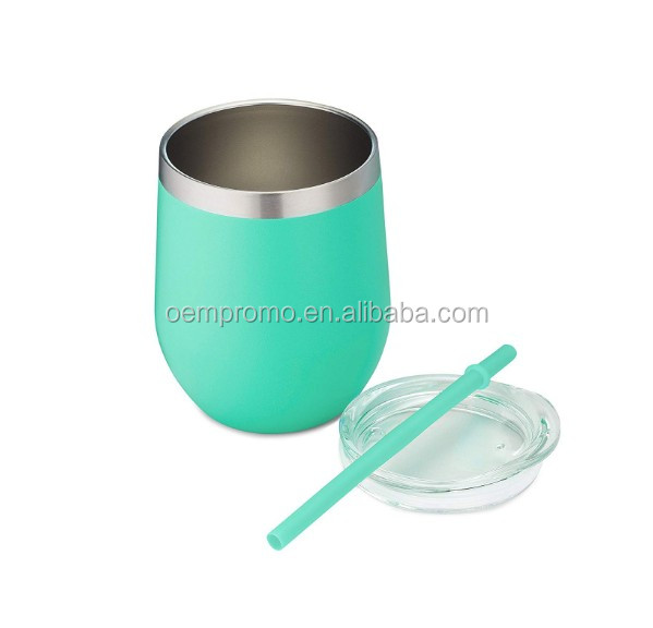 PROMO Insulated Double Wall Stainless Steel Wine Glass Tumbler With Lid