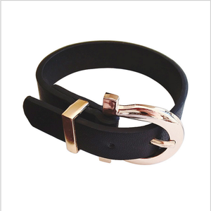 New Genuine Leather Wristband Buckle Belt Bracelets Adjustable Fashion