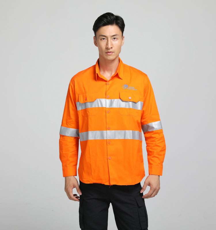Mens <strong>Orange</strong> high visibility reflective safety shirt with two pockets accept custom logo printing