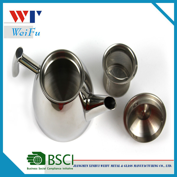 2016 High quality stainless steel thermo tea coffee pot / tea pot with tea strainer