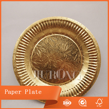Disposable outside custom size golden party paper plate & Disposable Outside Custom Size Golden Party Paper Plate - Buy Golden ...