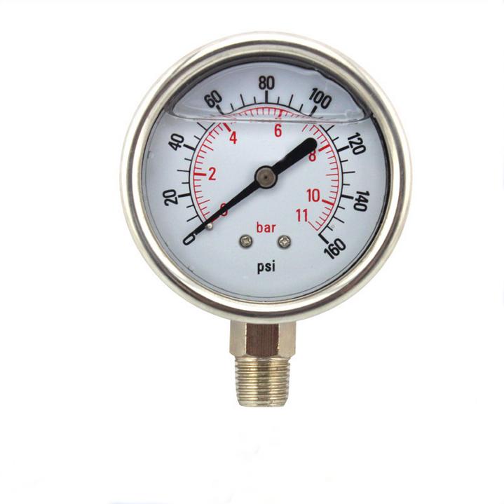 """Manómetro de vacío en seco utilidad 1-1//2/"""" negro 30HG//0PSI Acero 1//8/"""" centro de la espalda"""