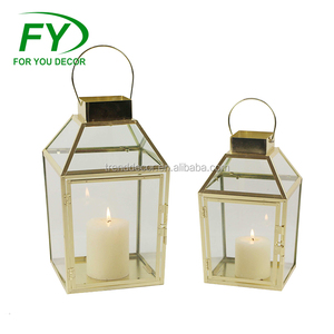 ML-2615 Set Of 2 Windproof & Waterproof Durable Wedding Gold Stainless steel lantern