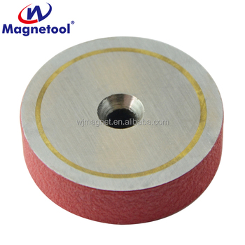 red wrinkle painted shallow alnico pot magnet with countersunk hole