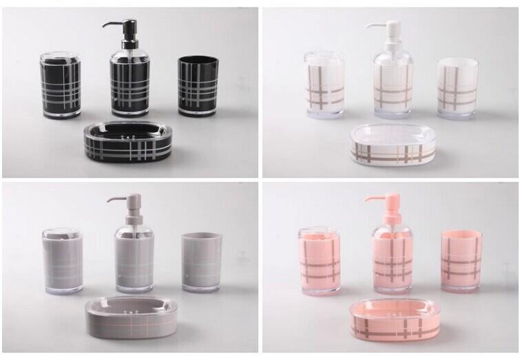 interesting pink bathroom accessories sets | Free Shipping Fashion Bathroom Set 4pieces Black Pink ...