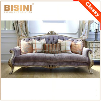 Genial New Design French Elegant Purple Fabric Sofa In Living Room/ High Quality  European Wooden Sofa