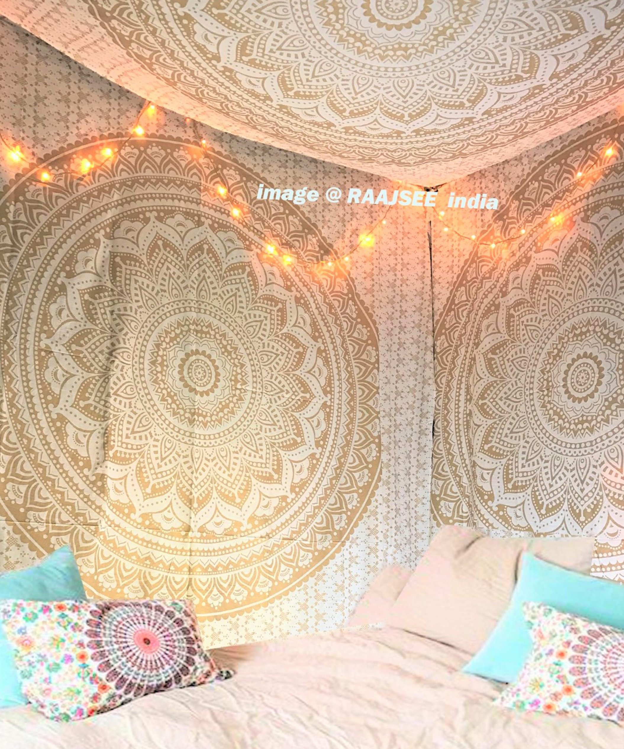 "Exclusive Handmade Original Gold Ombre Tapestry By ""RaaJsee"",Boho Bohemian Tapestry Wall Hanging Tapestry,Dorm Decor Tapestry,Hippie Bedspread Tapestry 140220cms"