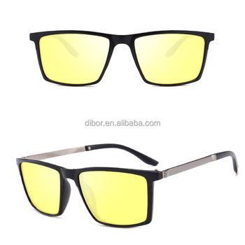 80f3268c0 Fashion square lente amarilla visión nocturna conducción deportiva gafas de  sol hombres polarizados uv400