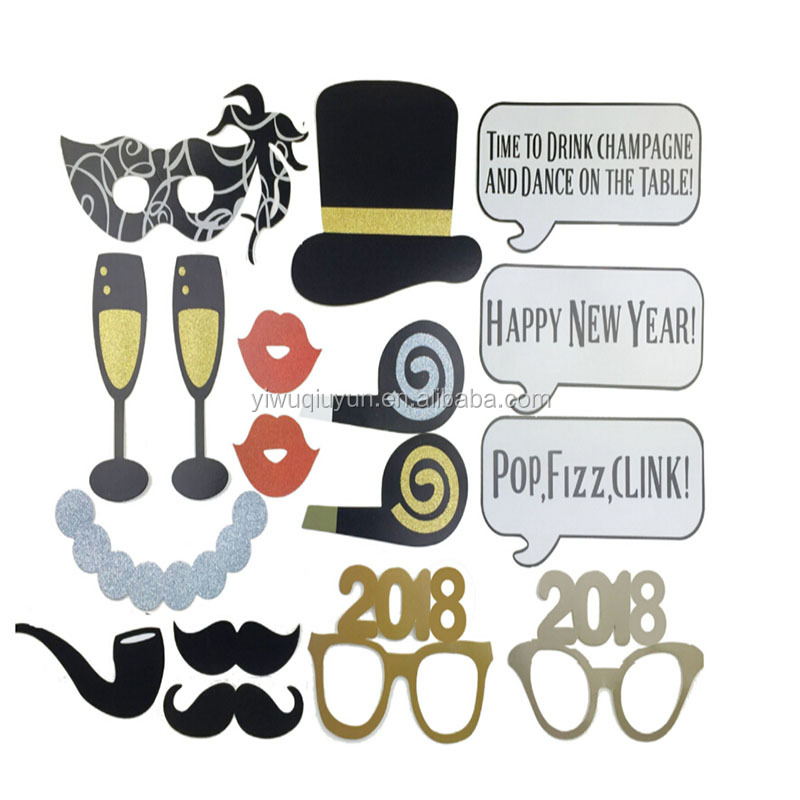 18Pcs Glasses Hats Mustache Creative Photo Booth Props Birthday Party Decoration Christmas 2018 Happy New Year Event Photo Props