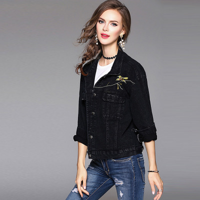 High Quality Low Price Stylish Embroidered Floral Denim Motorcycle Bomber Wholesale Women Black Jean Jacket