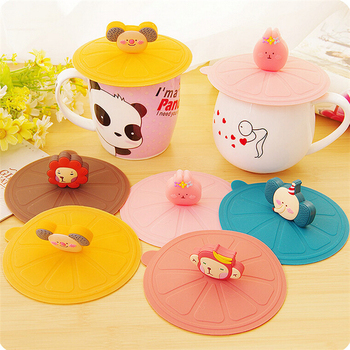 BPA food grade silicone Cartoon silicone cup lid