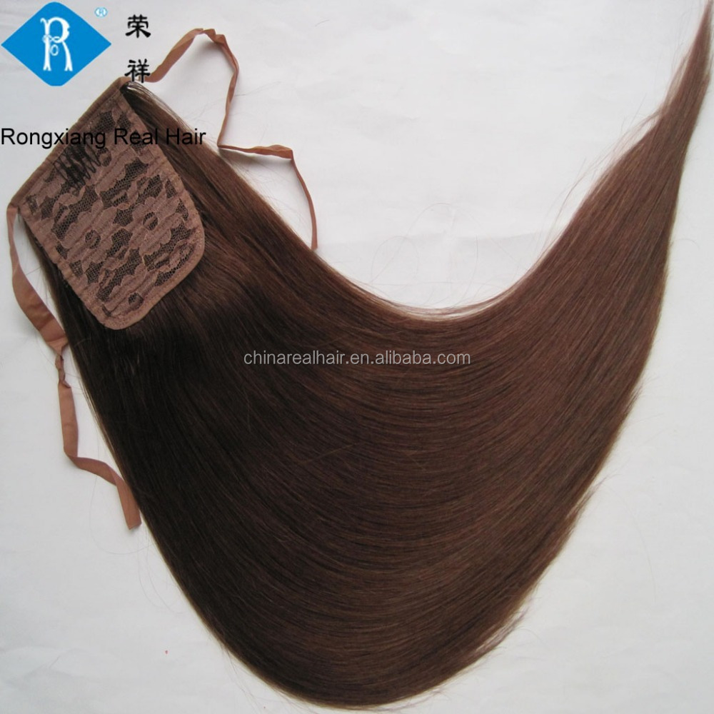 Wholesale double drawn brazilian real 100% human hair ponytail