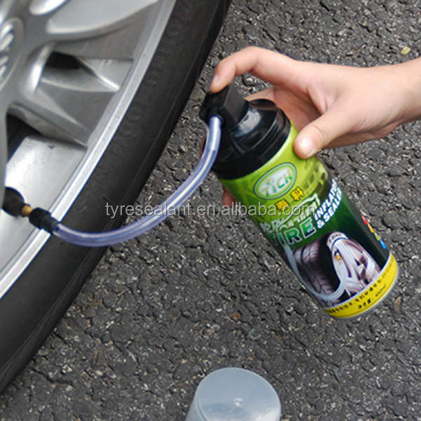 DIY repairing flat tubeless car or motocycle tires punctured in emergency with CE & RoHS certified tyre liquid spray sealants