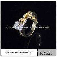 Wax Setting style Ring 14K Yellow Gold plated key jewelry