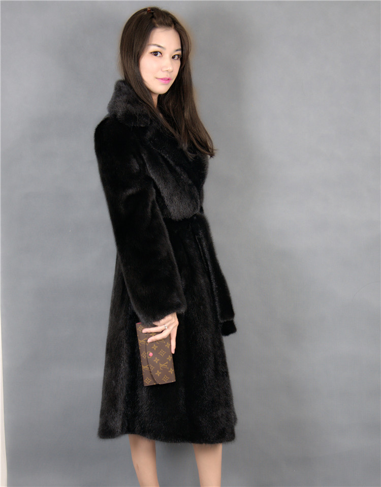 2015 winter woman fashion real mink fur xl long real mink coat 8023