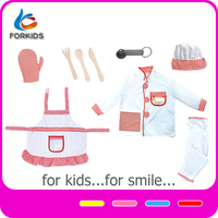 Learning pretend modern toy kitchen set, chef uniform role play dress up toy set