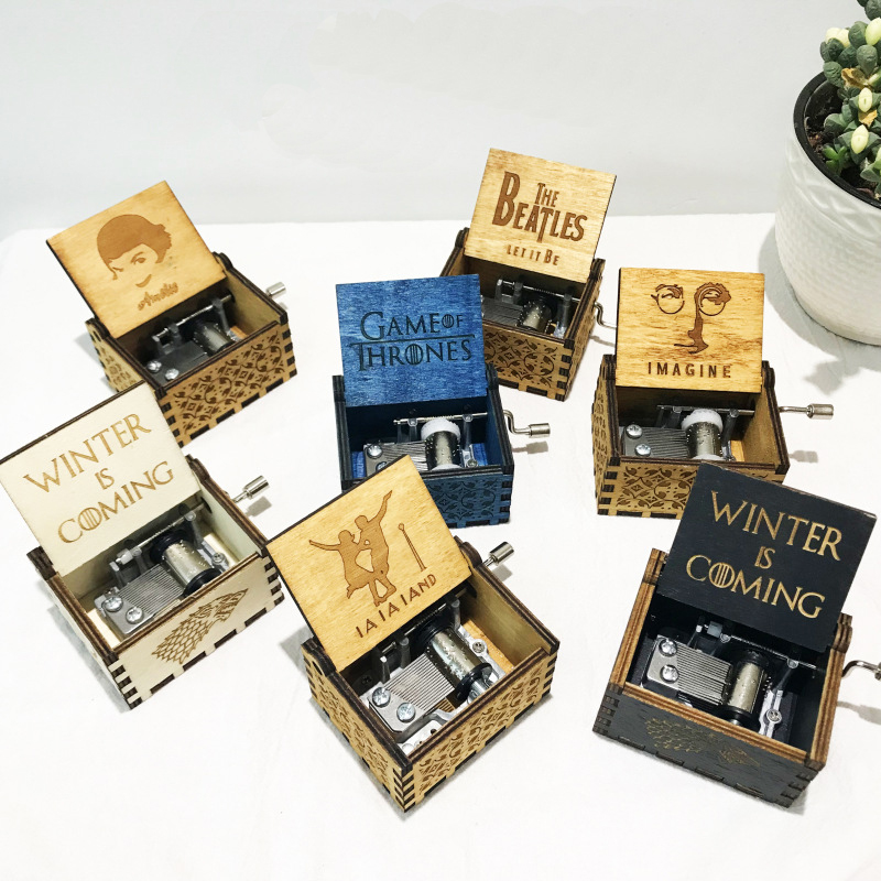 Hand manivela de madeira Harry Potter Music Box