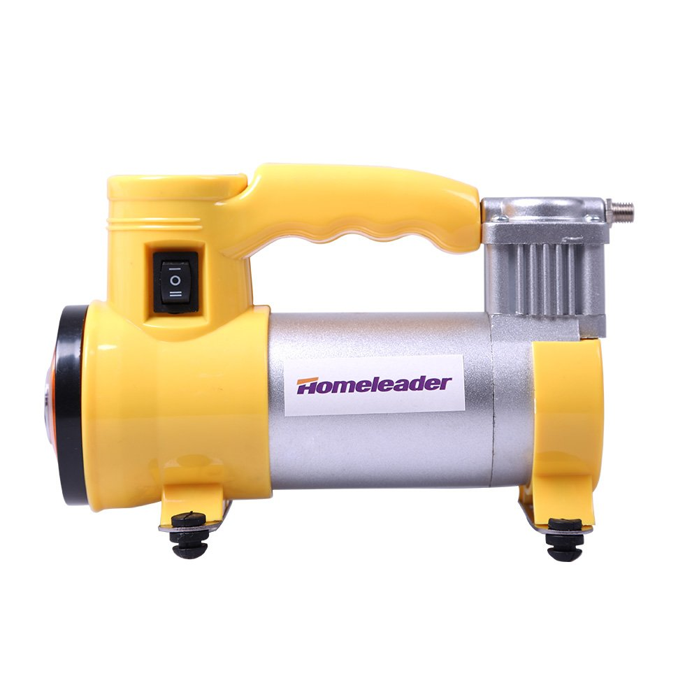 Portable Air Compressor Homeleader Mini air compressor Portable Air Compressor 12V ,Multi-Use Heavy-Duty Tire Inflator for Car, Yellow and Silver, L33-001