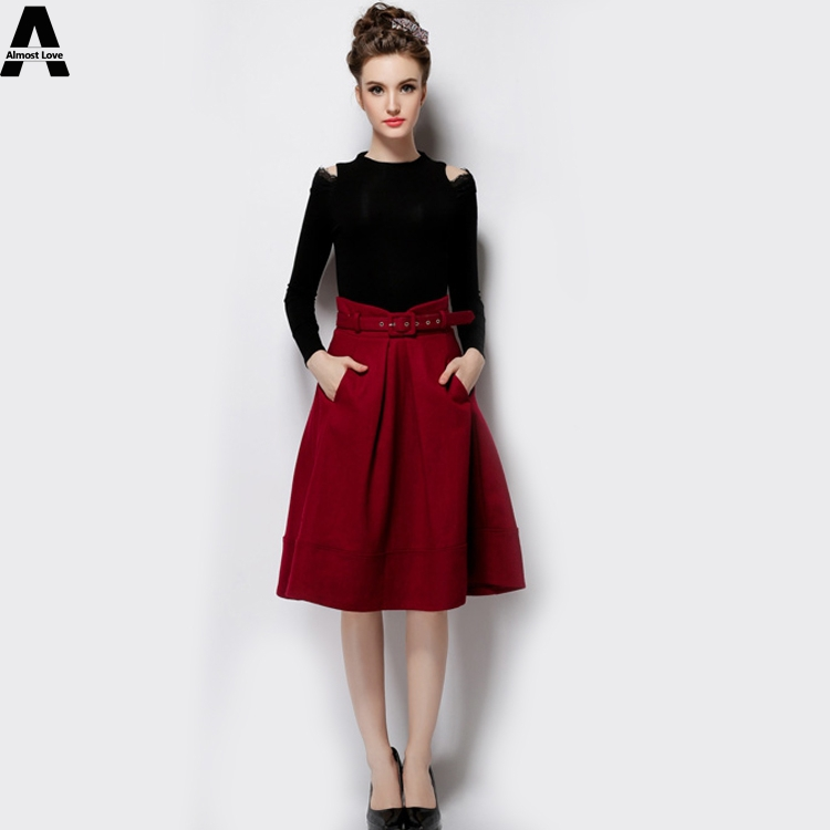 Elegant Womens Skirts Autumn and Winter 2015 New Fashion High Waist A-line Thick Solid Big Woolen Skirts Knee-Length Skirt QW739