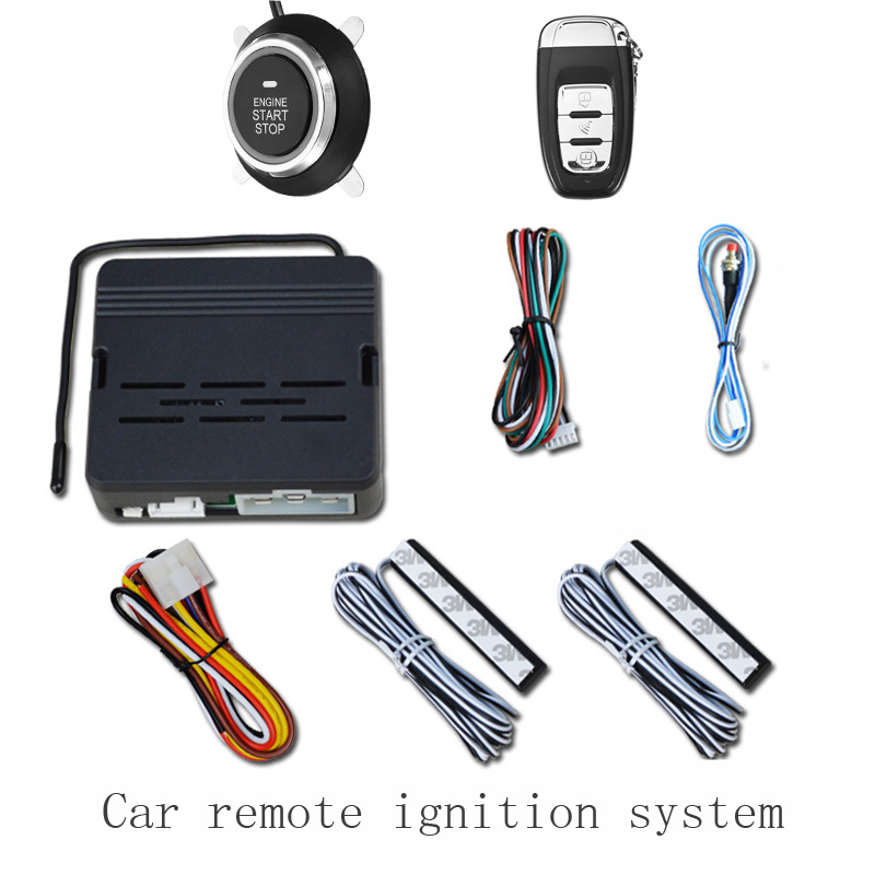 Caralarms security system with PKE  keyless entry remote engine start/stop system push button start 12V