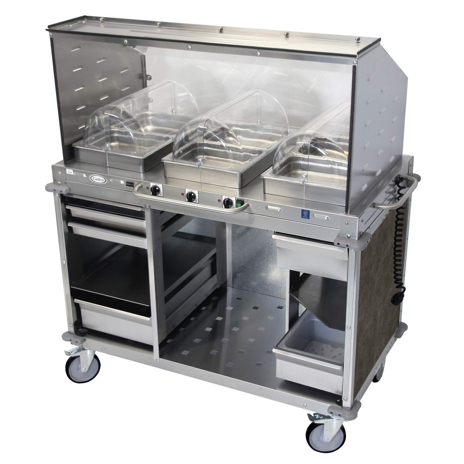 "Mobile Hot Buffet Cart with Sneeze Guard Steam Pans Size: 2.5"" H, Color: Mission Smoke Grey"