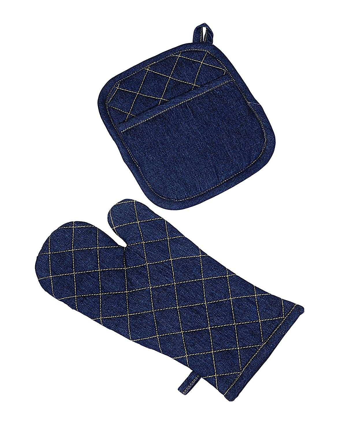 Yourtablecloth Set of Denim Oven Mitt and Pot Holder or Oven Gloves-100% Cotton, Comfortable –Machine Washable-Great for Barbecuing and Serving