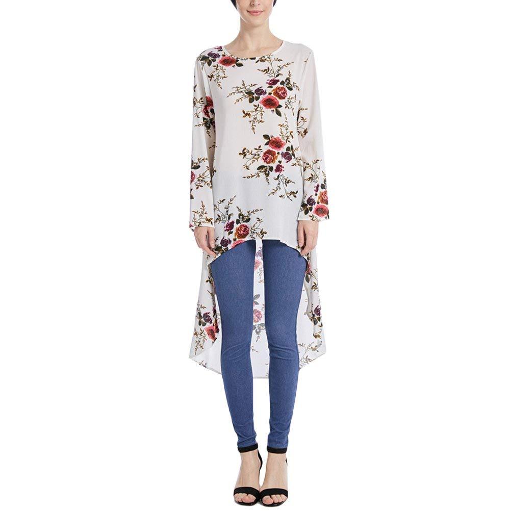 0b8858cdfb9 Get Quotations · Zhuhaitf Floral Irregular Tops Muslimah Blouse Dress Shirt  For Ladies Caftan Abaya