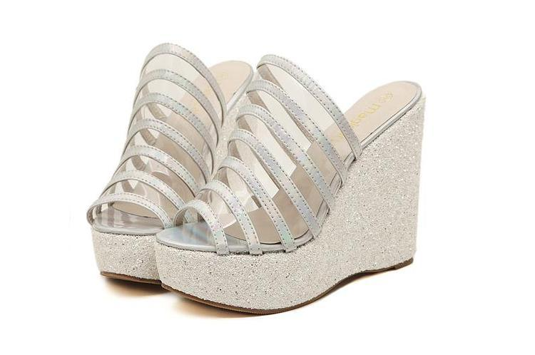 5faef6a0545 Get Quotations · Glitter Jelly Sandals Rainbow Shining Wedges Cheap Glitter  Silver Gold Platform Wedges Cheap Clear Glitter Jelly