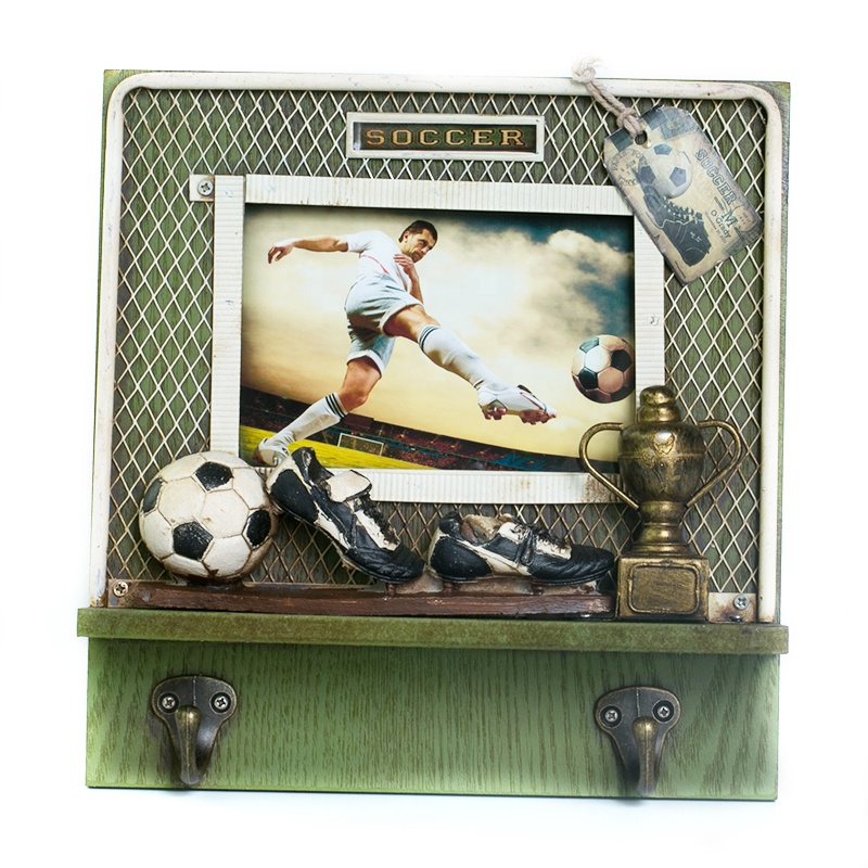 Creative Metal Antique Wooden Wall Photo Frame With Soccer Hook Ornaments Home Crafts Photo Frames Accessories