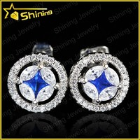 good quality round shaped pin back 925 silver diamond stud earrings