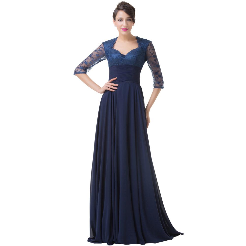 Grace Karin Long Evening Dresses 2016 Half Sleeve Lace