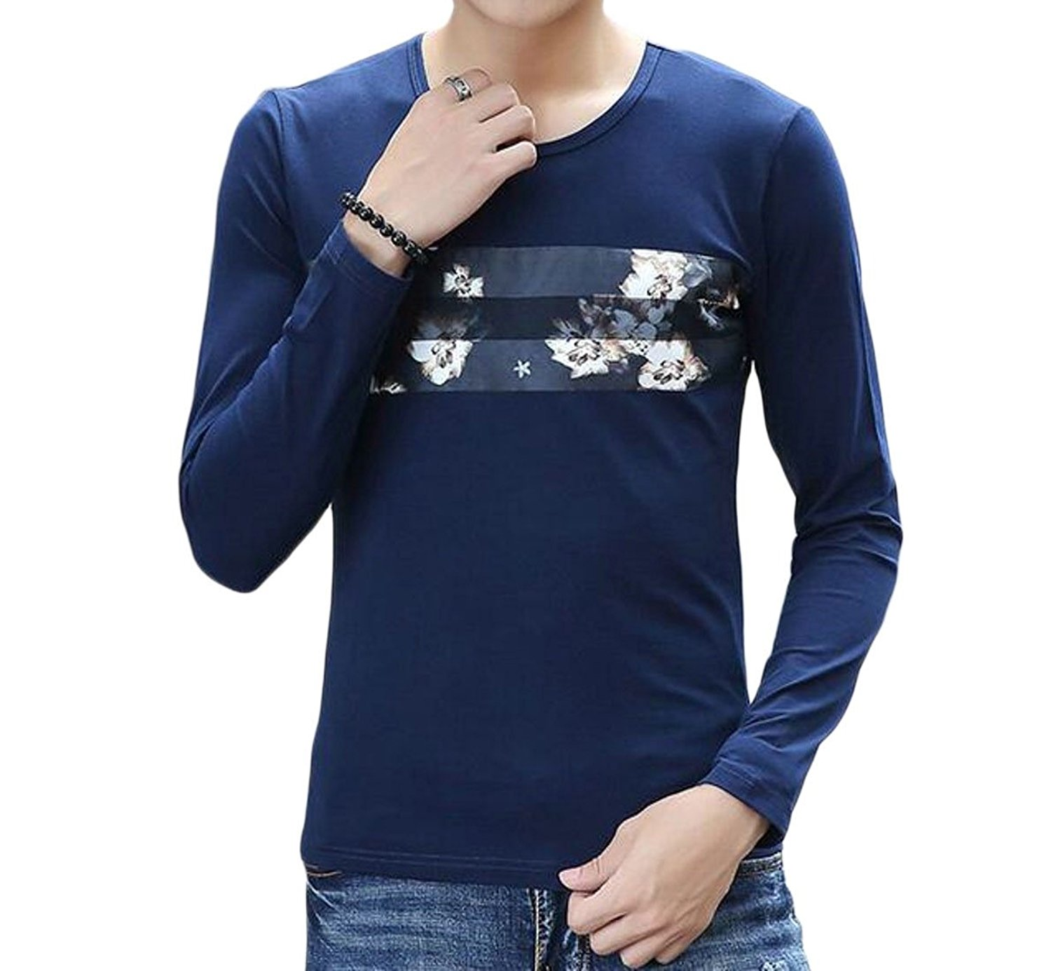 Coolred-Men Long Sleeve Crew-Neck Slim Fit Wild Casual T-Shirts