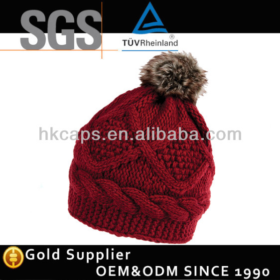 Cheap Wholesale Custom Benies With Pom / Knitted Hat